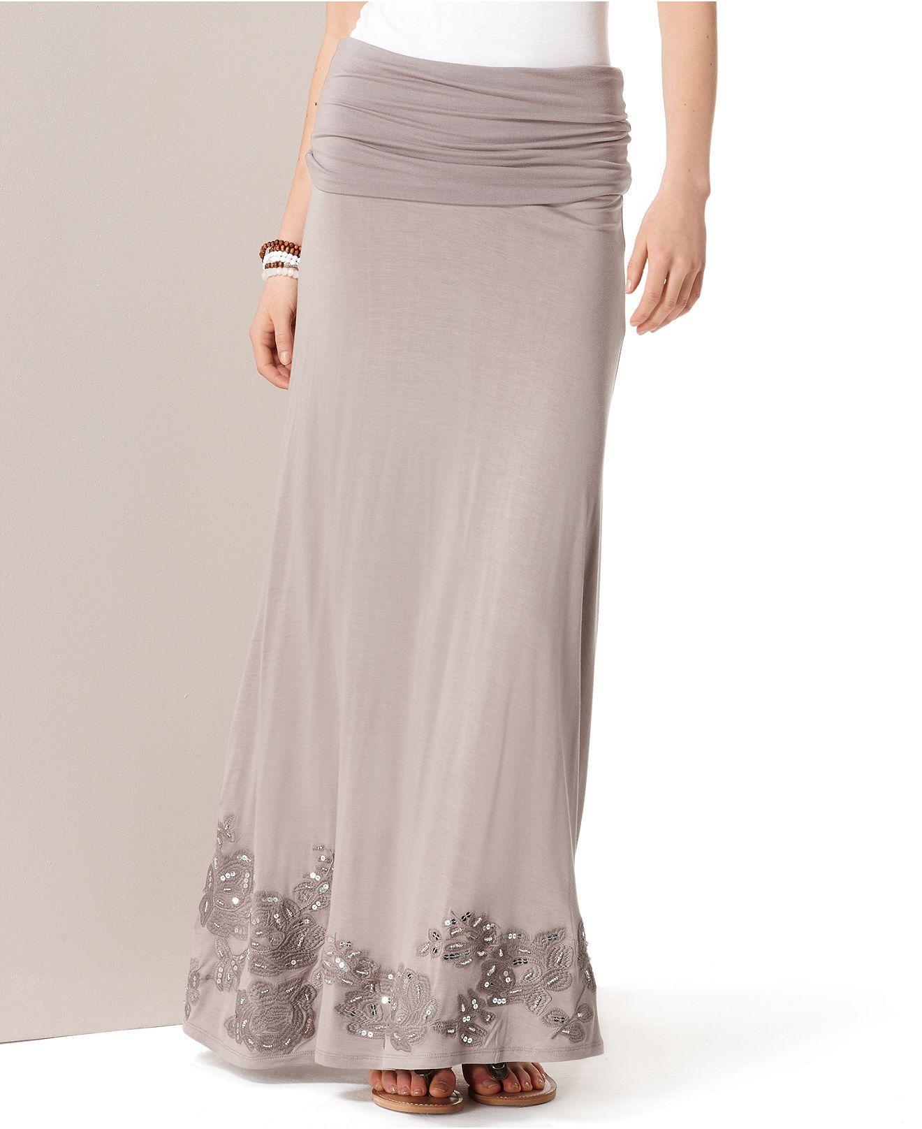 d5f5923a83fb INC International Concepts Skirt, Convertible Maxi Embroidered Strapless  Dress