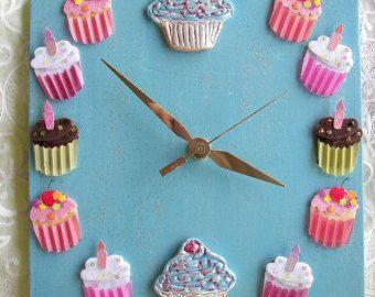 Pink Clock Cupcake Ceramic Clock Larger Size by Angelheartdesigns