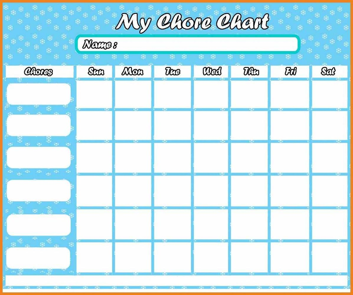 Printable Chore Reward Chart For Children