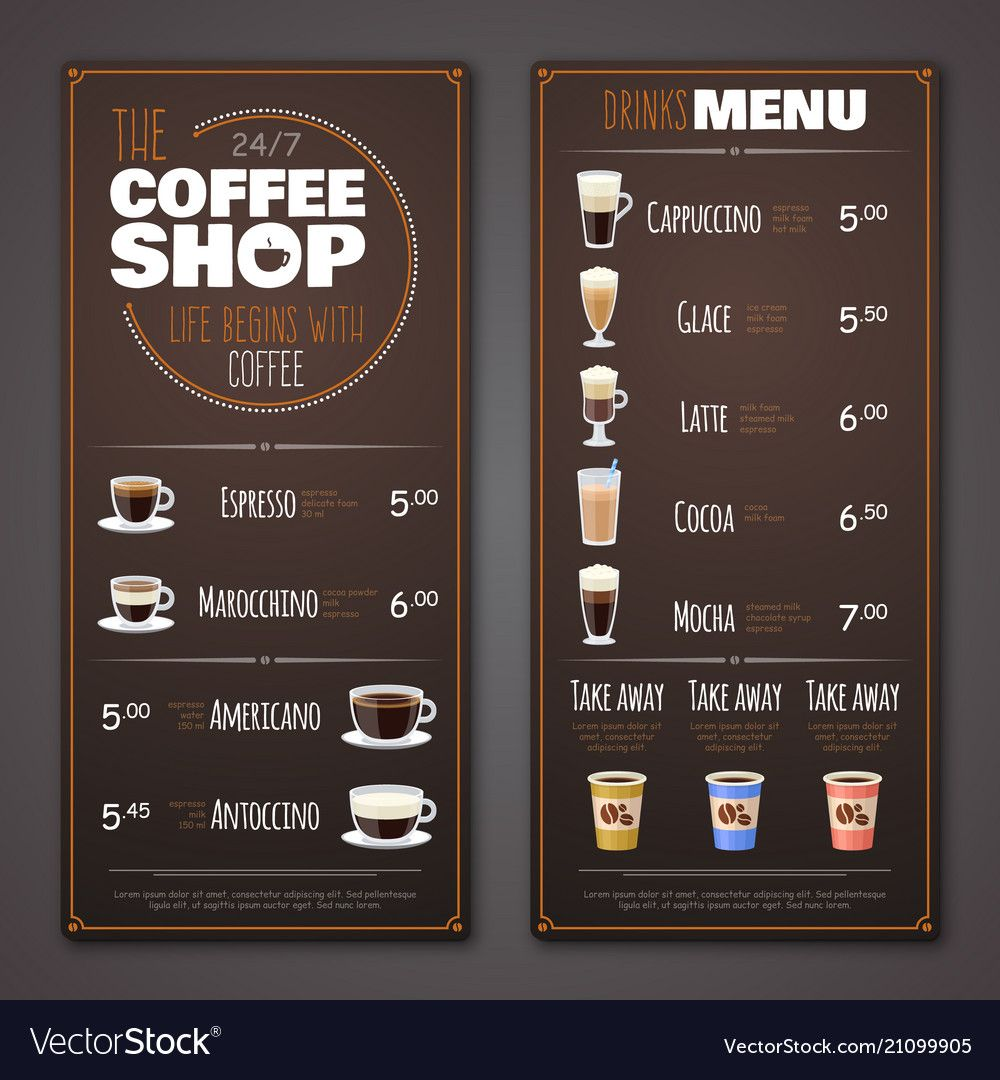 Coffee shop menu design template vector image on (Dengan