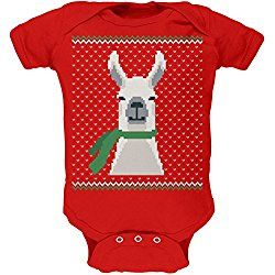 82da89e39dc0 Ugly Christmas Sweater Big Llama Red Soft Baby One Piece - 24 month ...
