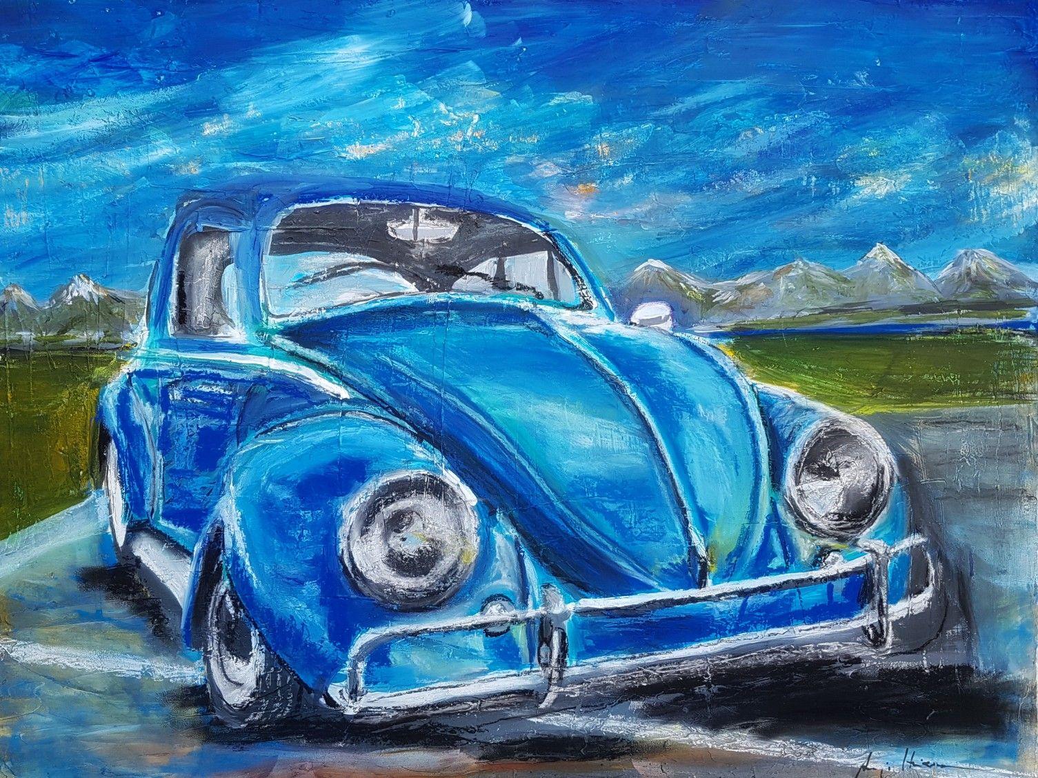 vw kafer gemalt von anja hinzmann acryl und kreide auf leinwand 60x80 90x70 bedrucken günstig