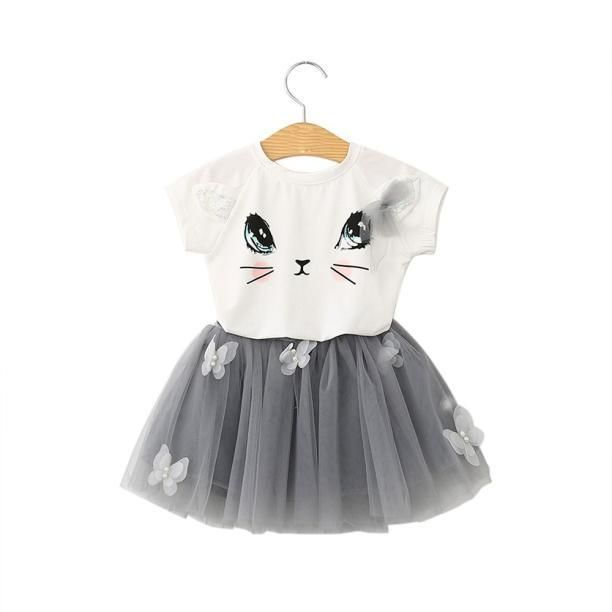 Baby Birthday Kid Girl Clothes Outfit Tutu Skirt Dress+Top T-shirt 2Pc Party Set