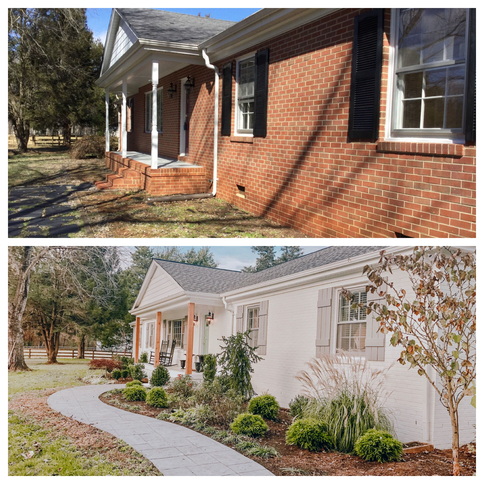 Before And After Painted The Brick White Built New Shutters And Added Landscaping And Roof Sl Brick Exterior House Brick Ranch Houses Home Exterior Makeover