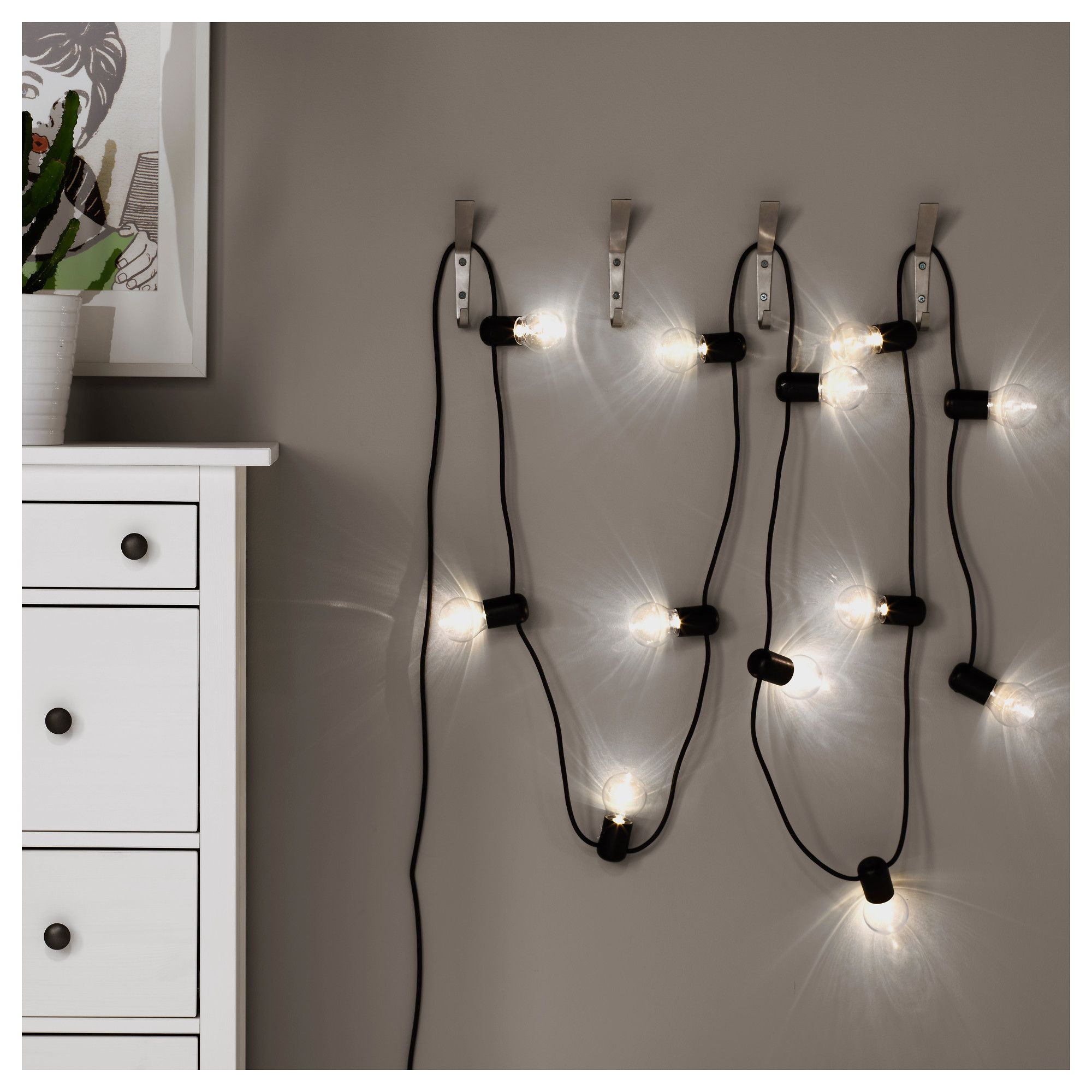 svartrÅ led string light with 12 lights, black, outdoor in 2018