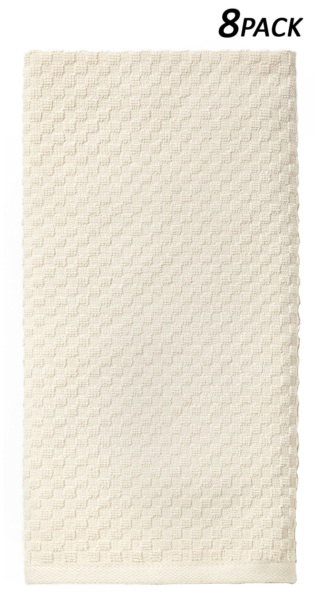 Cotton Craft - 8 Pack Ivory EuroCafe Waffle Weave Terry