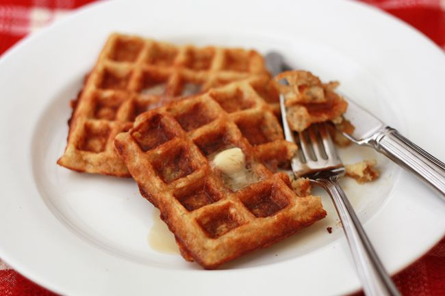oatmeal waffles - more oatmeal/no flour/1egg+1eggwhite; added handful of granola and cranberries to batter....excellent
