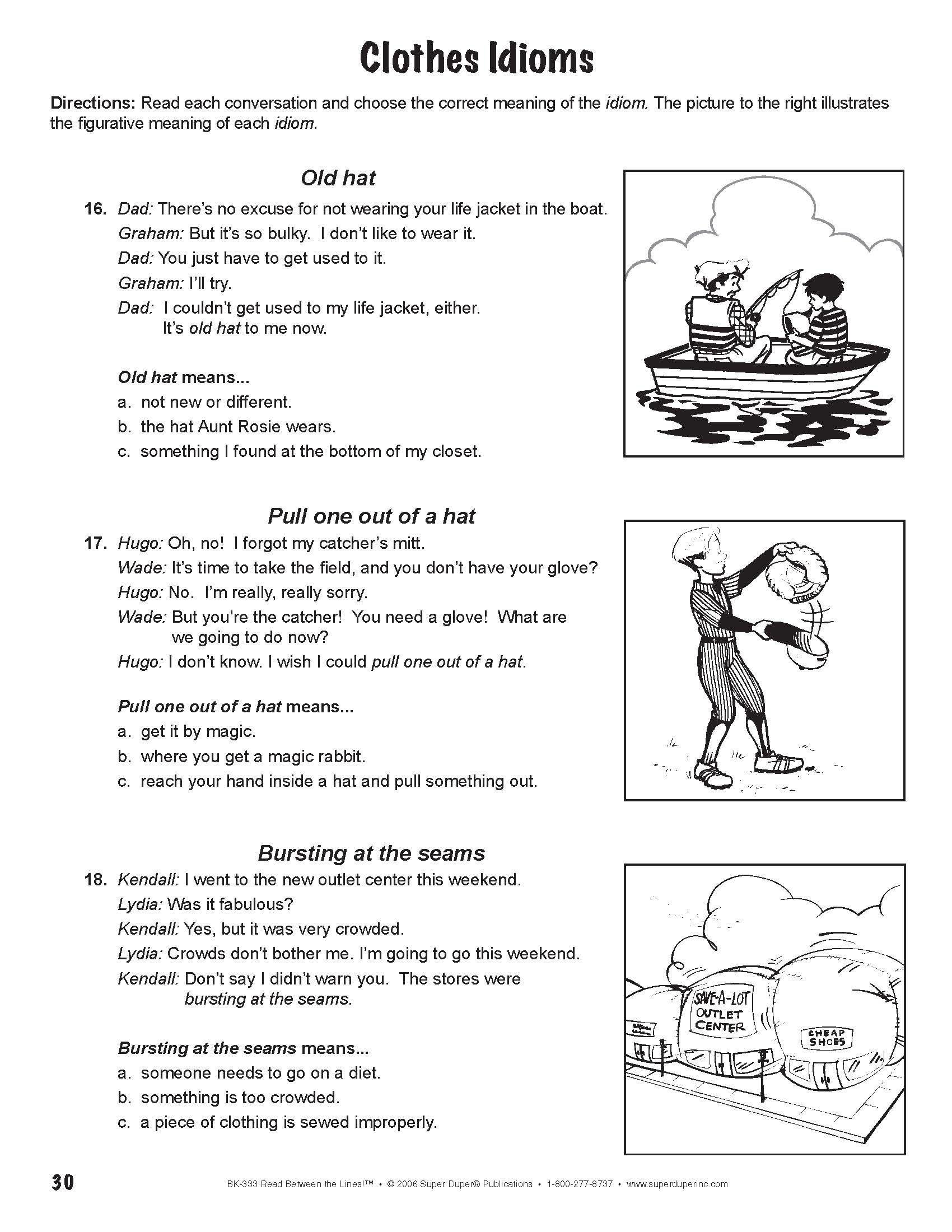 Clothes Idioms Fun Sheet Speech Activities Speech And Language Idioms