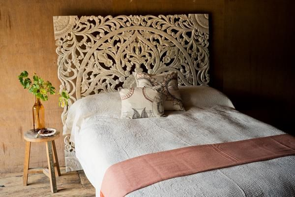 promo code eba63 1c283 Ornately Carved Whitewashed Indian Headboard - Headboards ...