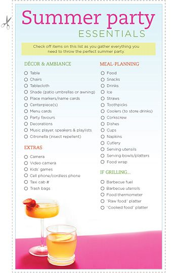 Patio Party Planner S Checklist Party Planner Checklist Patio Party Party Planning Checklist