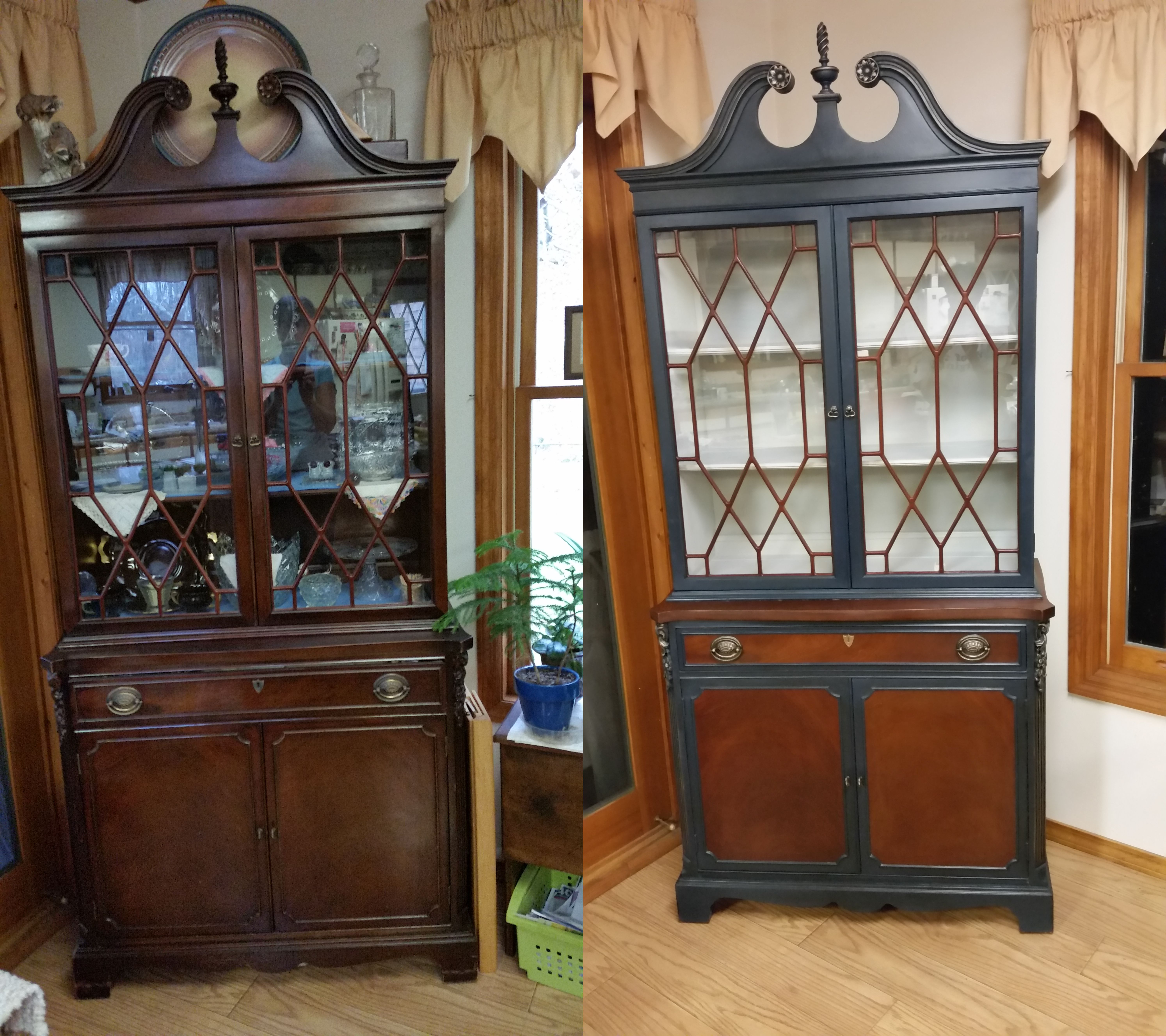 Before & After Of Mimis China Cabinet Painted With A