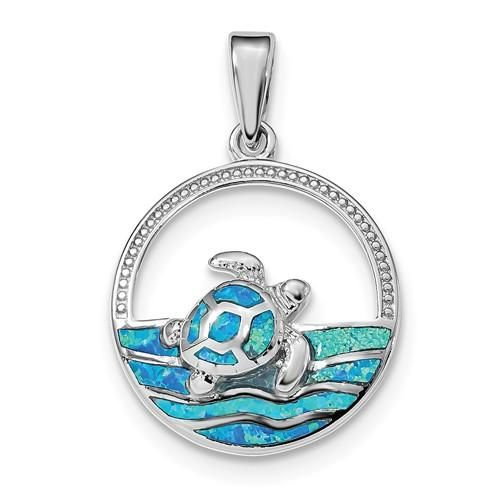 Sterling Silver Blue Inlay Created Opal Turtle Pendant