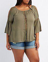 7a98da37ea18a2 GreenPlus Size Crochet-Trim Split Sleeve Top | STYLE | Crochet trim ...
