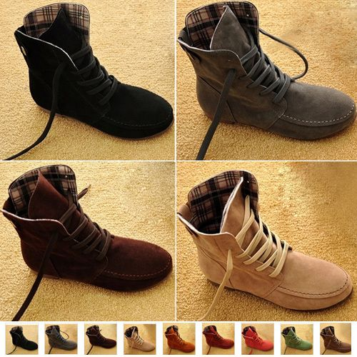 flat lace up ankle boots for women