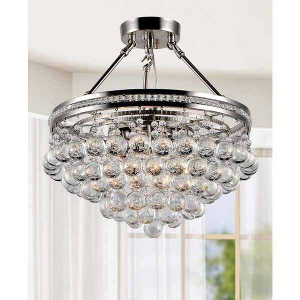 Eleanor Bright Nickel And Crystal Semi Flush Mount Chandelier