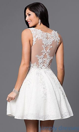 Shop JVN by Jovani lace homecoming dresses at Simply Dresses. Short semi- formal party dresses with beaded sheer-illusion v-neck bodices. d2059d216