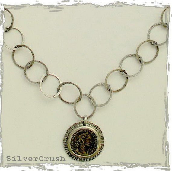 Silver+circle+chain+with+bronze+coin++My+Icon+by+silvercrush,+$146.00