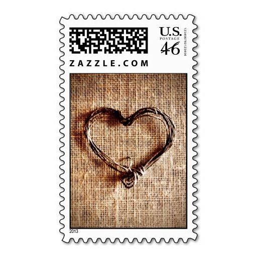 Rustic Country Burlap Twine Heart Postage Stamps   Zazzle