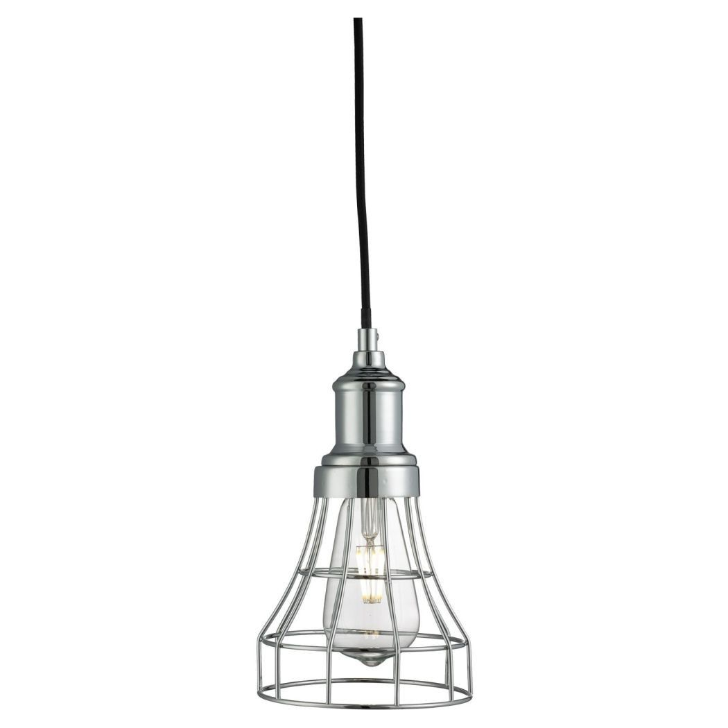 Searchlight Tapered Cage Pendant Ceiling Light Polished Chrome