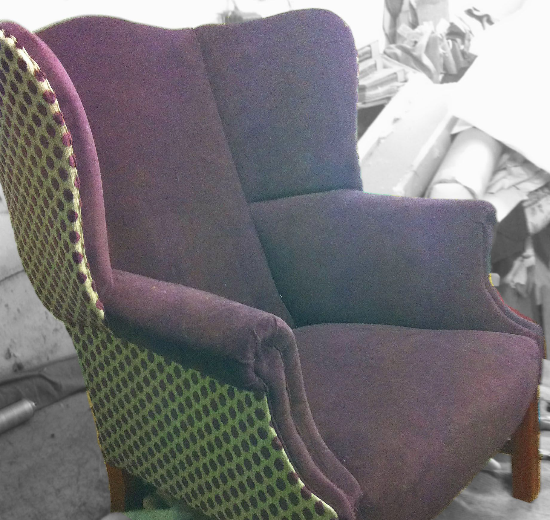 Winged armchair, purple velvet and green with purple polka ...