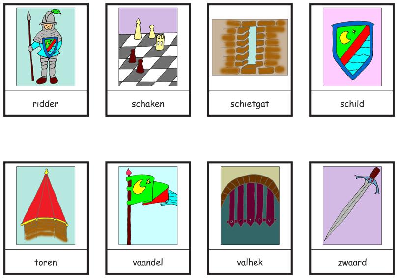 Woordkaarten kastelen 3 thema de sloot en vijver for Werkbladen ridders en kastelen