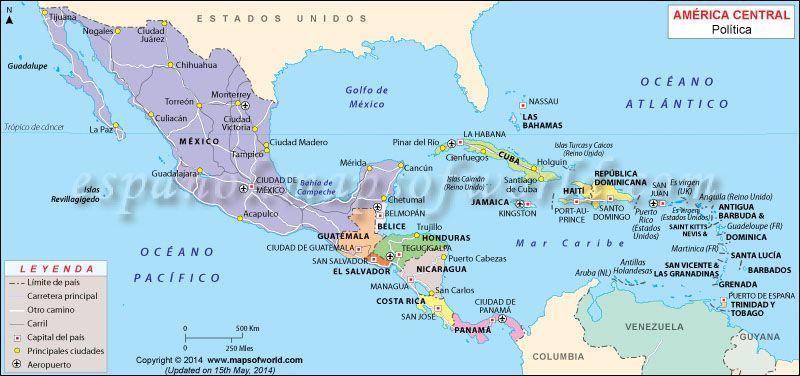 Mapa de Centroamerica   Mapa de centroamerica, América central y ...