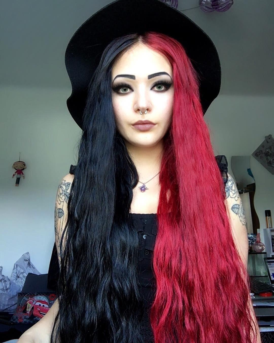 All Of Us Are Sick Gothgirl Halfheadarmy Halfhair Halfhead Alternativegirl Scenegirl Tattoo Girlswithta Dyed Hair Split Dyed Hair Half Colored Hair