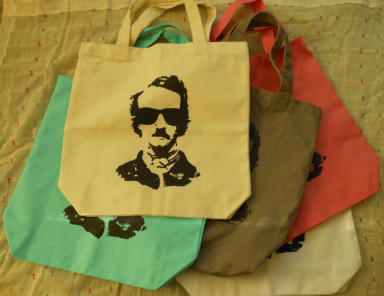 Edgar Allan Poe in Sunglasses Canvas Tote Bag. $8.00, via Etsy.