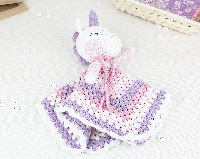 Blanket Unicorn Sweet Pattern| Security Blanket | Crochet Lovey ...