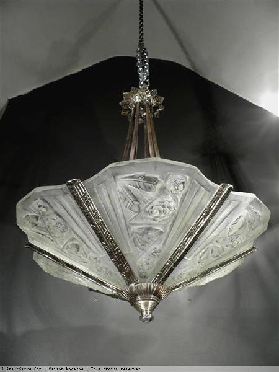 art d co lustre bronze et verre 1920 30 art d co. Black Bedroom Furniture Sets. Home Design Ideas