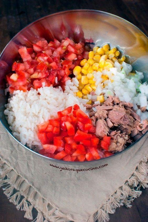 Ensalada de arroz con atun ensaladas pinterest - Ensalada de arroz con atun ...