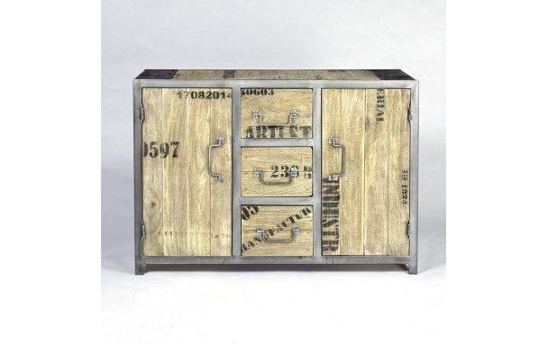 Buffet Industriel Ego 2 Portes 3 Tiroirs Pas Cher En Vente Chez Origin S Meubles Decorative Boxes Decor Buffet