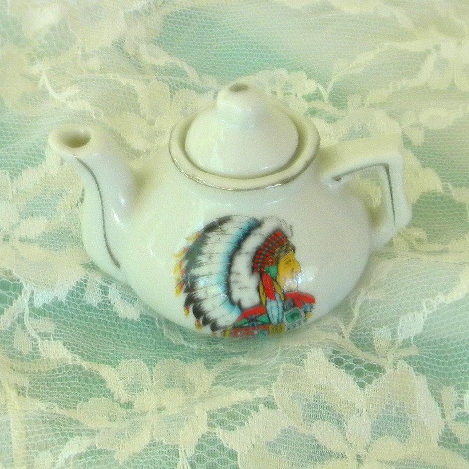 Native american chief minitature teapot pocelain vintage item