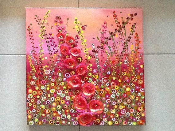 3d Effect 51 X 51 Cm Flower Meadow Acrylic By Julierydermixedmedia 245 00 Floral Art Mixed Media Art Journaling Button Crafts