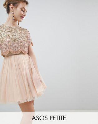 Design Petite Heavily Embellished Tulle Mini Prom Dress Dress