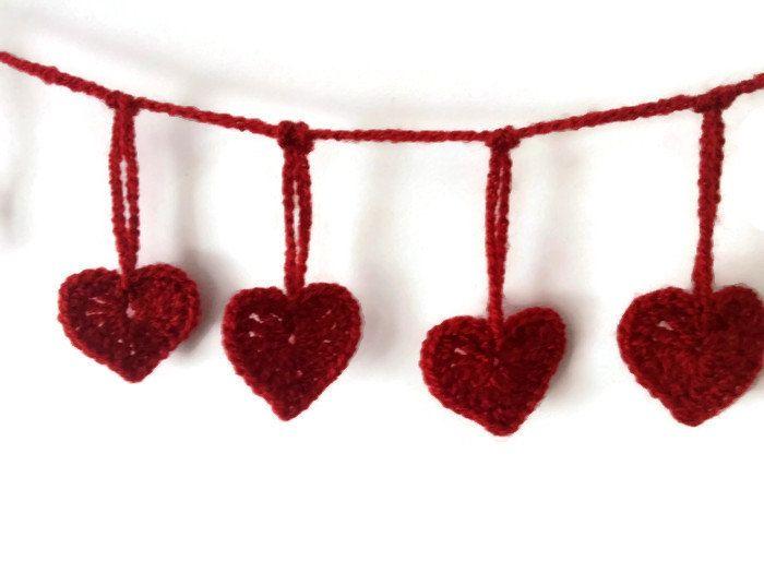 garland of 15 red crochet hearts crochet bunting heart banner crochet valentine hearts
