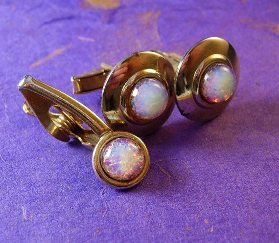 October Crystal Of The Month OPAL Cufflinks by NeatstuffAntiques