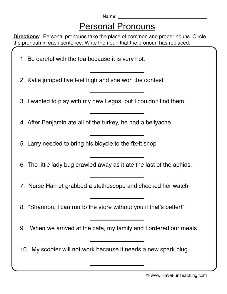 resources pronouns worksheets personal pronouns worksheet