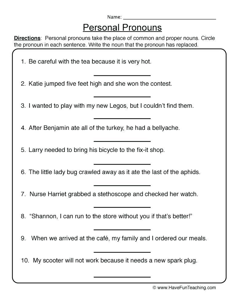 resources pronouns worksheets personal pronouns worksheet