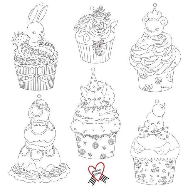 컬러링 카드  #illust #illustration #drawing #moonsfriends #coloringbook #card #cupcake #sweet #일러스트 #그림 #컬러링북 #카드 #컵케이크 #달달