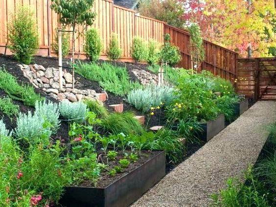 small sloped backyard ideas landscaping