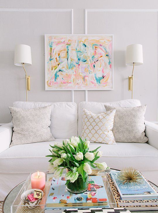Classic Glam Living Room. Neutral palette with bright pastel decor.
