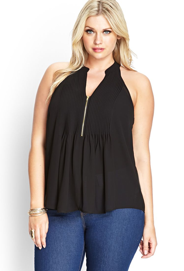 Micro Pleated Woven Top | FOREVER21 PLUS - 2000089631