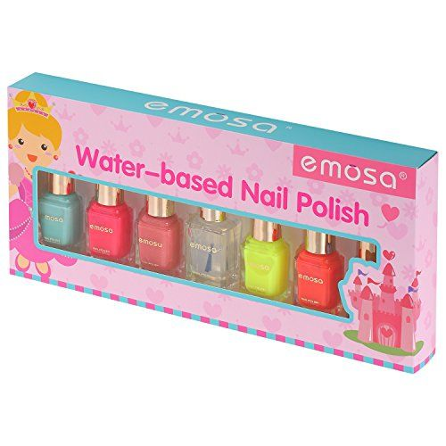 Emosa Water Based Nail Polish Set For Girls 100 Non Toxic Peelable Pack Of 7 6 Colored Bottles With 1 Base Coat Top Cstuio 993feb