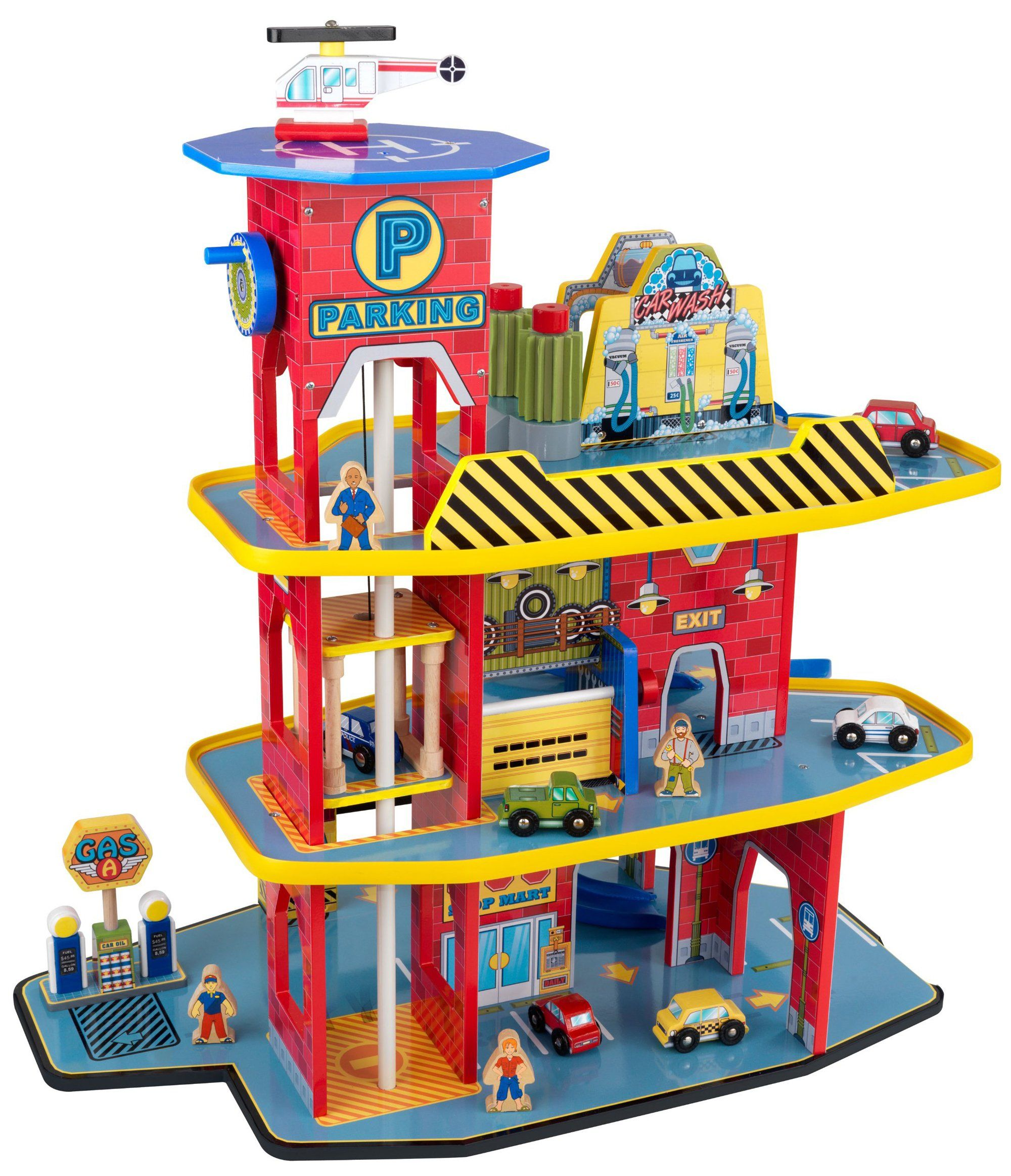 Cars 4 toys  KidKraft Deluxe Garage Set Winding ramp goes from the top floor to
