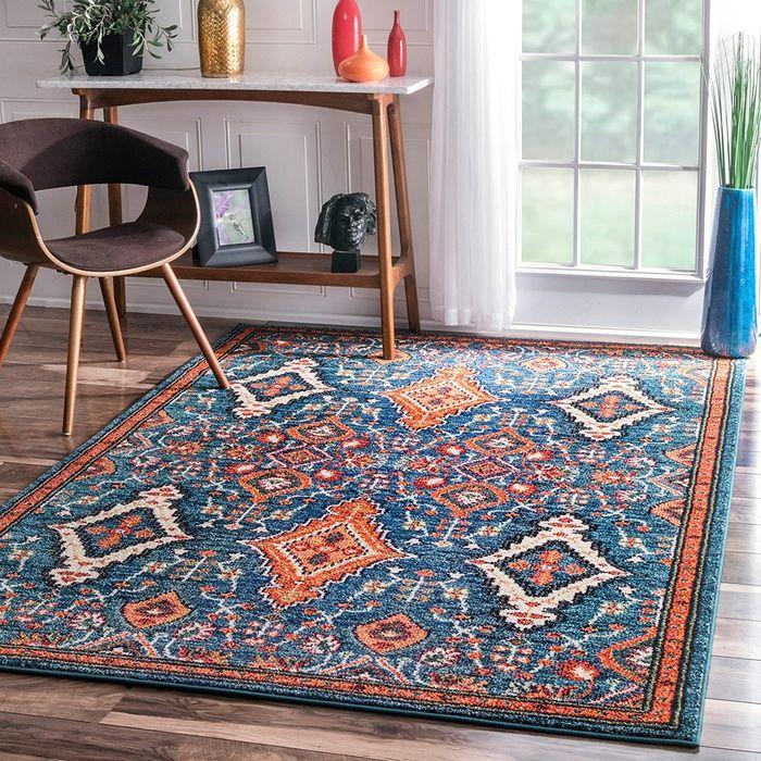 rugs usa traditional vintage diamond drops multi area rug   tops
