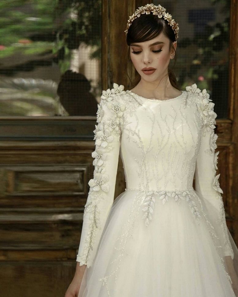 Beaded jewel neck heavy embellishment long sleeves a line wedding dress #wedding #weddinggown