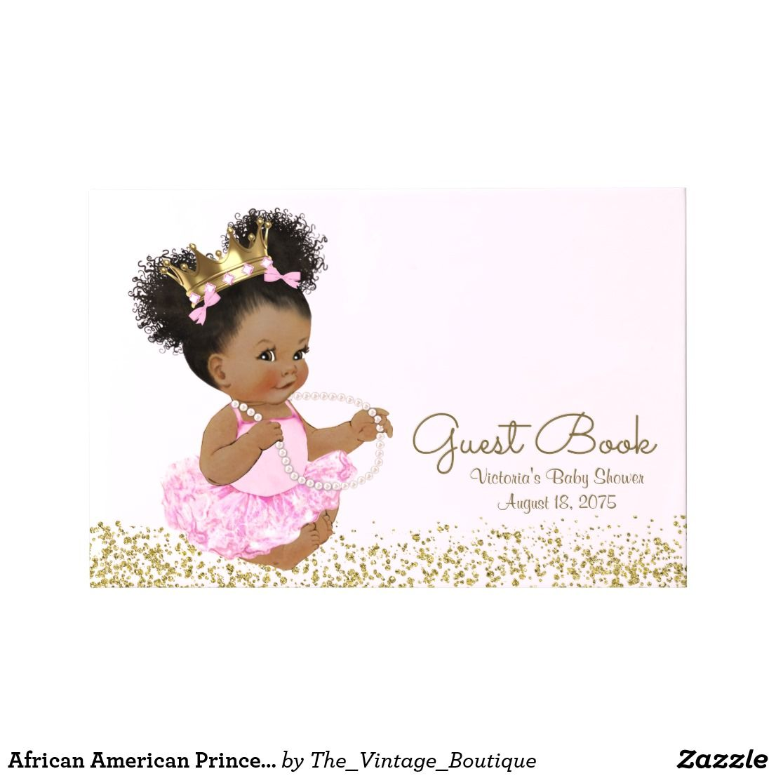 African American Princess Baby Shower Guest Book Zazzle