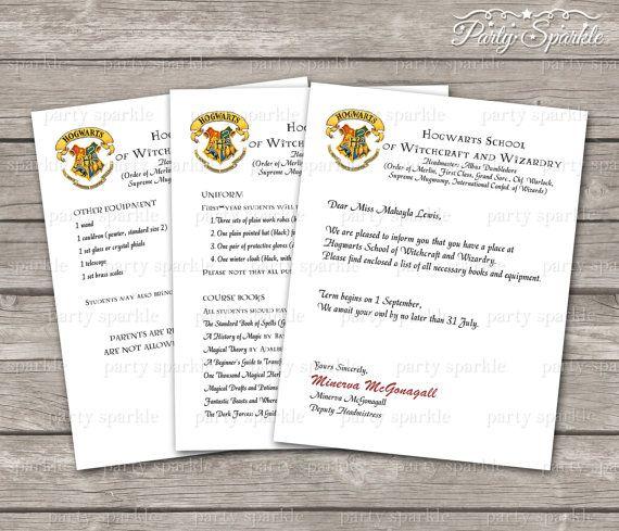 Printable Hogwarts Acceptance Letter Personalized Digital Pdf
