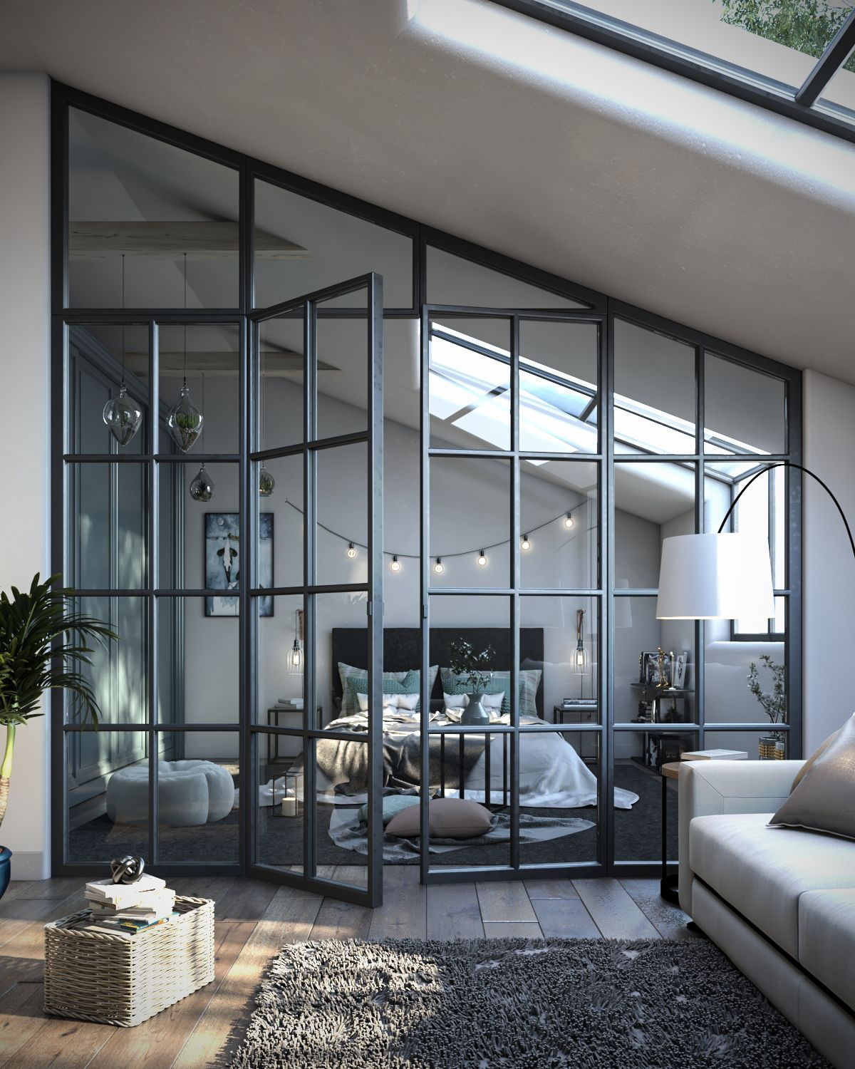 Photo of Open glass window loft bedroom inspo